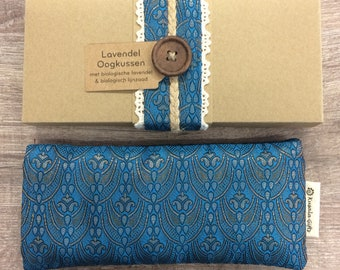 Lavender eye pillow with Indian silk cover - blue vertical