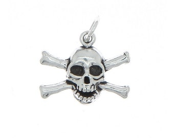 Sterling Silver Skull and Crossbones Charm (3d Charm)