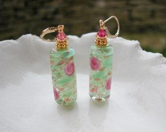 Green Murano Sommerso Glass Earrings