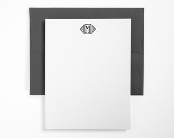 ATRIUM MONOGRAM Letterpress Stationery - Unique - Custom Mini Note Card Set