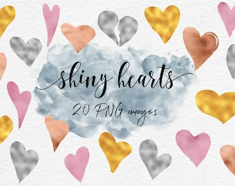 Shiny Hearts Clipart, Valentine's Day Hearts, Love Clipart, Sparkle Hearts In Gold, Silver, Copper And Rose, Valentine Clipart, BUY3FOR6