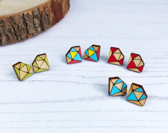 Everyday Earrings - Wood Earrings - Laser Cut Wooden Earrings - Geometric Earrings - Laser Cut Jewellery