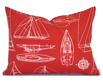 Indoor Outdoor Christmas Pillow Covers ANY SIZE Decorative Pillows Red Pillows Richloom Outdoor Sailing Red