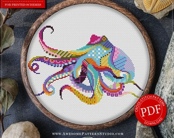 Mandala Octopus Cross Stitch Pattern for Instant Download *P295 | Lovely Cross Stitch| Room Decor| Needlecraft Pattern| Easy Cross Stitch