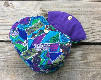 Purple Geometric Print Vintage Fabric Button Bag