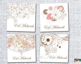 Printable Eid Mubarak Card Set, Digital Download, Set of 4 Eid Cards, Islamic Greeting Cards