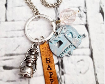 Camper Necklace, Happy Camper Necklace, Charm Necklace, Camping Jewelry, Camper Pendant, Queen of the Camper, Travel Jewelry, Travel Gift