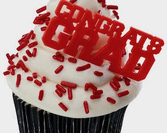 24 Red Congrats Grad Cupcake Picks Graduation Party Supplies Cake Toppers