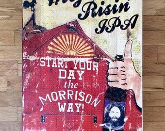 ROADHOUSE BREWS - The Doors, Jim Morrison - Gel medium transfer on wood - Wall art