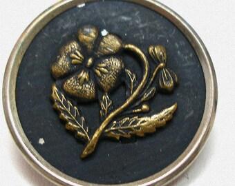 "1800s Antique Button, LG Victorian Flower in gold, 1""."