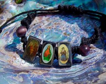 Patron Saint Hematite & Hemp Bracelet