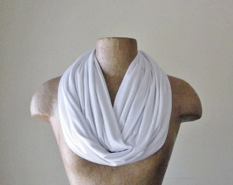 WHITE Circle Scarf - Super Lightweight Jersey Loop Scarf - Infinity Scarf