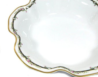 HC France Old Abbey Limoges Monticello Round Fluted Serving Bowl