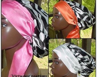 Satin Sleep Bonnet - Satin Cap - Satin Bonnet - Sleep Cap - Natural Hair Locs Animal- Zebra  print Charmeuse Satin-Black White