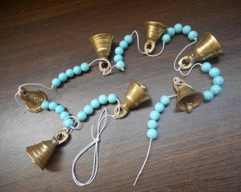 Garden chime with brass bell wind chime // door chime // garden hanging // beaded wind chimes.
