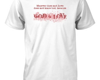 Aprojes God is Love Heart Valentine's Day T-Shirt for Men