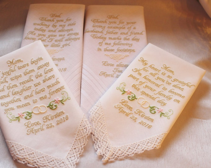 Personalized Wedding Handkerchiefs Set of Four, Parent Gifts From Bride, Wedding Gifts, Wedding Hankies, Mother of the Bride, Father