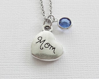 Mom Necklace Mom Heart Mothers Day Best Friend Gift Birthday Gift Silver Jewelry Swarovski Channel Crystal Birthstone Silver Plated Alloy