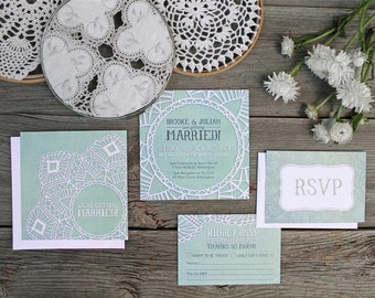Mint Green Illustrated Vintage Wedding Invitations - SAMPLE - Teal Lace Theme - Wedding Invitations & Stationery by Alicia's Infinity