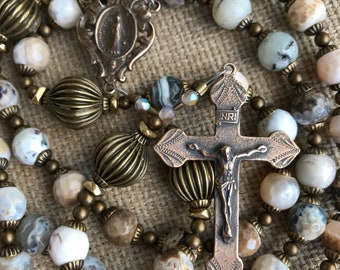 Gemstone Rosary with bronze Earthy rosary Mens Rosary Confirmation gift men Unique Catholic Rosary Fathers Day gift