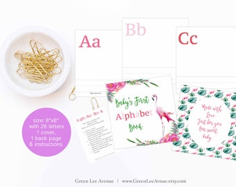 "Flamingo Alphabet Book Baby Shower Activity Game, Size 8""x8"", Baby's First Alphabet Book, DIY ABC book, activity, Pink Red Flamingo"