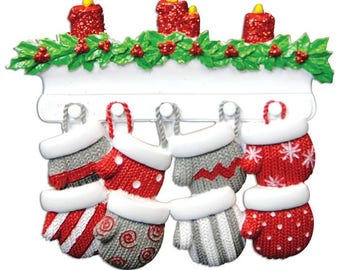 Mitten Family of 8 Personalized Christmas Ornament