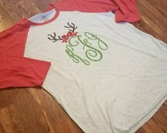 Personalized Christmas Shirt | Personalized Baseball Shirt | Monogram Christmas Shirt | Christmas Raglan Shirt | Womens Christmas Shirt