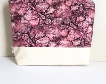 Pink forest project bag knitting bag Large project bag crochet project bag