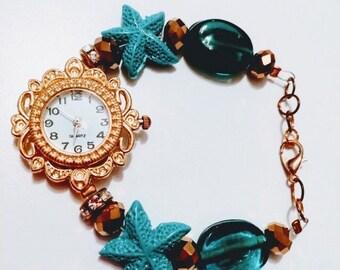 Ladies handmade Beaded nautical watch new