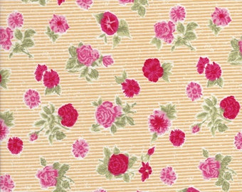 Cotton Tail Cottage - Pink Floral Fabric - Red Rose Fabric - Yellow Stripe Fabric - Bunny Hill Designs