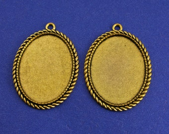 2, 5 or 10- 40x30mm Rope Edge Setting, Antiqued Gold Setting, 30 mm x 40 mm Cameo Setting - AG-B41090-8S