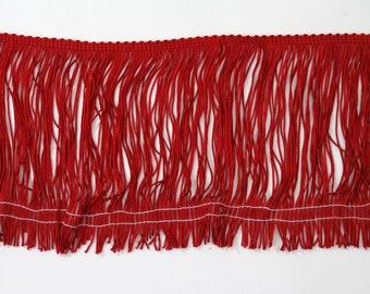 "Deep Red Chainette Fringe 6"" Trim, Dance Costumes, Decorating, Tassel Trim, Sewing Trim Supplies, Notions, Novelty Trim, Red Fringe"