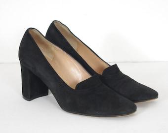 Sonia Rykiel 1990s Vintage Women's Black Genuine Suede Heels