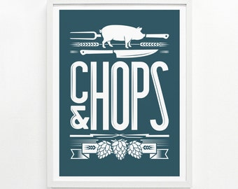 Foodie Gifts, Craft Beer, Kitchen Decor, Foodie Gift for Her, Gifts for Him Posters of Food - Chops & Hops Screenprint 9 x 12: