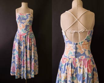 vintage 1980s dress / 80s Lanz backless sun dress / small / Becky Dress