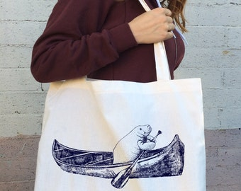 MANATEE (in a Canoe) Cotton TOTE - Hand Screen Printed Bag - made in California