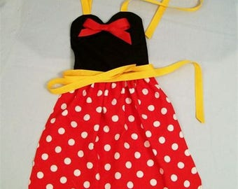 Girls Red Dot With Black Top Apron, Ruffled Apron, Little Girls Apron, Gift for Girls,Mom Helper Apron, Made in the USA, #1G