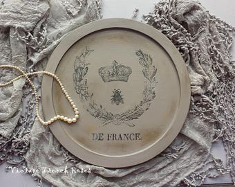 French Cheese Bread Board Wood Hand Painted Crown Bee Wreath Graphics Distressed Romantic Shabby Chic Cottage French Farmhouse Style Decor