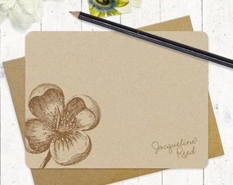 personalized note cards stationery set - APPLE BLOSSOM - set of 12 flat note cards - kraft stationary - floral - botanical - flower