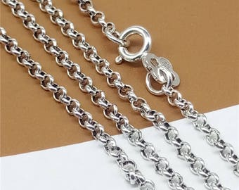 """Sterling Silver Rolo Chain, Belcher Chain, Sterling Silver Rollo Chain with 925 Stamped 2mm 16 18 20 22 24 26 28 30"""" Inch - HY001"""