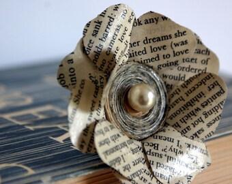 Flower Brooch, Book Lover Gift, Book Jewellery, Large Flower Brooch, Wedding Corsage, Cream Beige Brooch, Pearl Flower Brooch