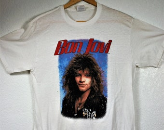1987 Bon Jovi Autographed T shirt  Sz XL USA Made / Bon Jovi Slippery When Wet ? Sz L / 80s Screenprint T / Vng Vixen, Danzig, Cinderella