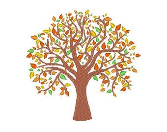 Autumn Fall Tree Embroidery Machine Design