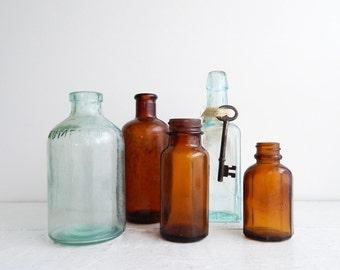 Antique Aqua & Amber Bottle Collection, Small Medicine Bottles, Set of 5