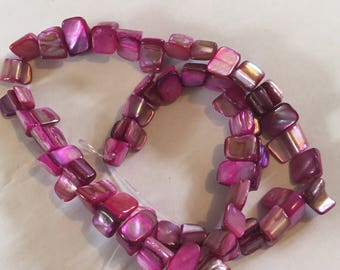 1 x strand of dyed pink shell beads approx 8mm 48beads