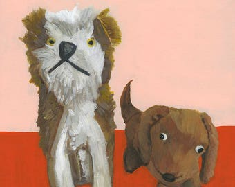 Toy dogs.  Limited edition print by Vivienne Strauss.