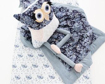 Blanket fitted sheet baby girl blue flower