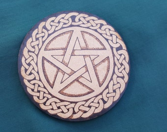 Celtic Pentagram Pentacle Altar Tile Plate Disc Pagan Altar Wicca Wiccan Altar Witch Altar Witchcraft Magick Pyrography Shrine