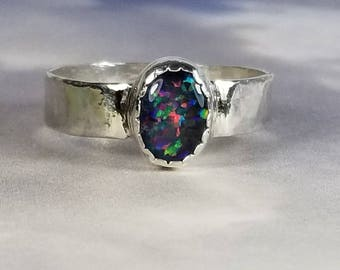 Sterling Silver Opal Ring Australian Blue Opal Ring Wide Silver Band Natural Opal Jewelry October Birthstone Mother's Day Gift Father's Day