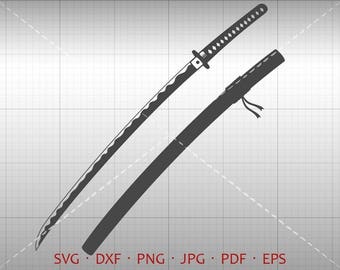 Japan Sword SVG, Ninja Sword Clipart dxf Silhouette Cricut Cut File Vector Commercial Use